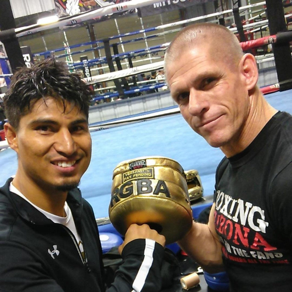 Robert Garcia and Mikey Garcia Get Their Custom VersaMitts from Coach Brad Carlton